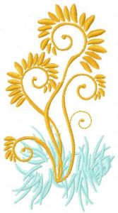 Gold plant 2 embroidery design