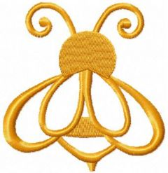 Golden bee embroidery design