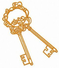 Golden keys free embroidery design