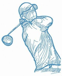 Golfer with club embroidery design