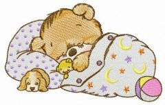 Good night little bear embroidery design