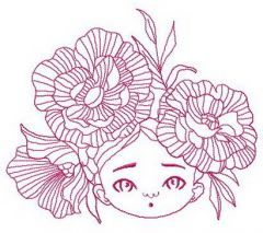 Gorgeous peony wreath embroidery design