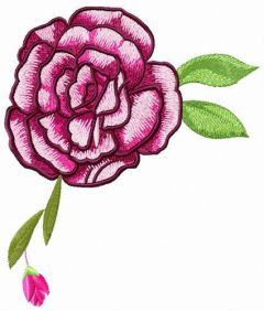 Gorgeous rose with bud embroidery design