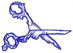 Gothic scissors embroidery design 4