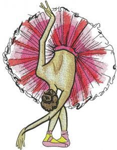 Graceful ballet dance embroidery design
