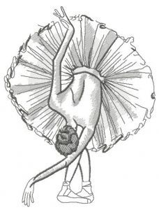Graceful ballet dance sketch embroidery design
