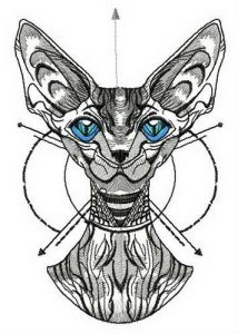 Graceful peterbald embroidery design