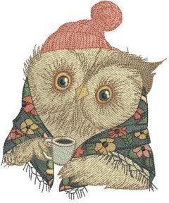 Granny owl's coffee embroidery design