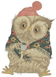 Granny owl's morning embroidery design