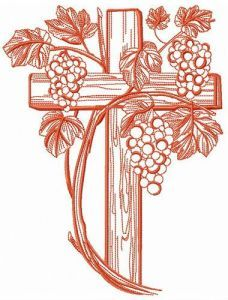 Grapevina and cross embroidery design