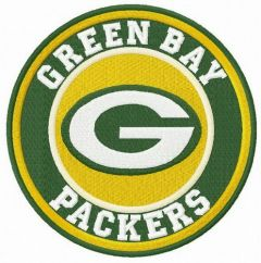 Green Bay Packers round logo embroidery design