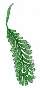 Green feather machine embroidery design