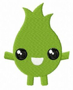 Green flame monster embroidery design