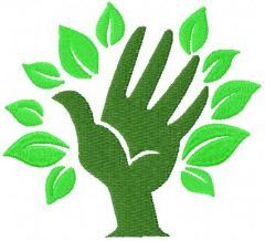 Green hand 1 embroidery design
