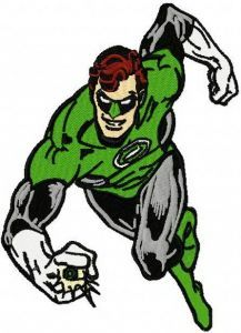 Green Lantern attacks embroidery design