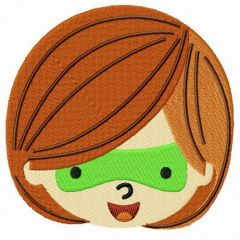 Green lantern chibi girl's face embroidery design