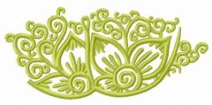 Green mysterious flowers embroidery design