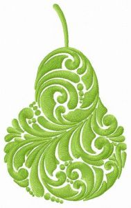 Green pear embroidery design