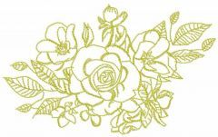 Green roses bouquet free embroidery design