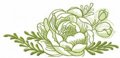 Green rose sketch embroidery design