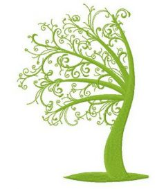 Green tree 2 embroidery design