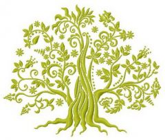 Green tree machine embroidery design 3