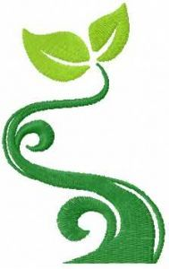 Green tree symbol embroidery design