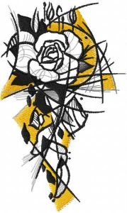 Greyscale sketch rose embroidery design