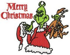 Grinch Merry Christmas embroidery design