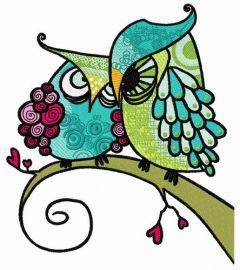 Grouchy owls embroidery design