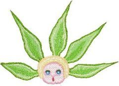 Snugglepot with Gumnut Leaves embroidery design