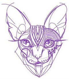 Hairless cat embroidery design