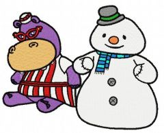 Hallie Hippo and snowman embroidery design