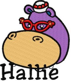 Hallie Hippo 10 embroidery design