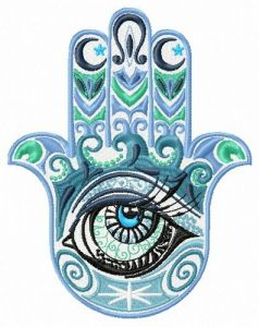 Hamsa with eye embroidery design