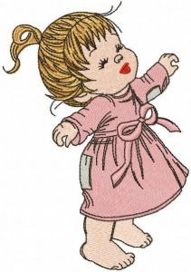 Happy baby girl without shoes embroidery design