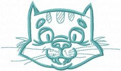 Happy cat muzzle embroidery design