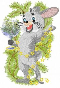 Happy Christmas bunny 2 embroidery design