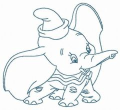 Happy Dumbo embroidery design