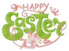 Happy Easter composition embroidery design