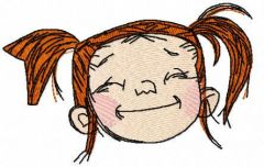 Happy girl face embroidery design