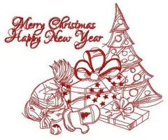 Happy New Year composition embroidery design