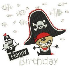 Happy pirate birthday embroidery design