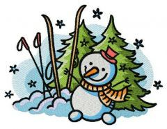Happy snowman 2 embroidery design