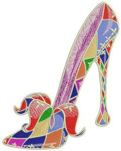 Harlequin high heels embroidery design
