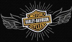 Harley Davidson wings logo embroidery design