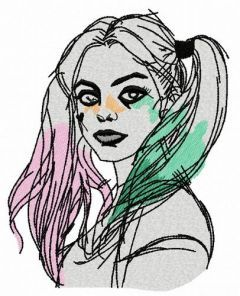 Harley Quinn embroidery design