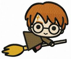 Harry flies on broomstick embroidery design