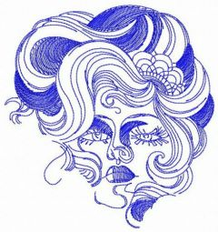 Haughty woman face embroidery design