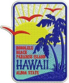 Hawaii badge 2 embroidery design